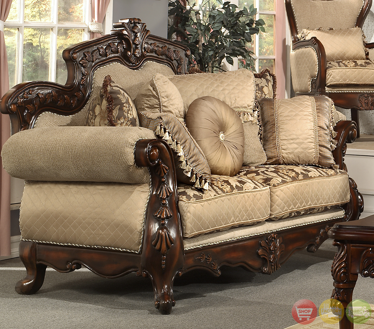 Formal Living Room Antique Style Luxury Sofa Set HD-296