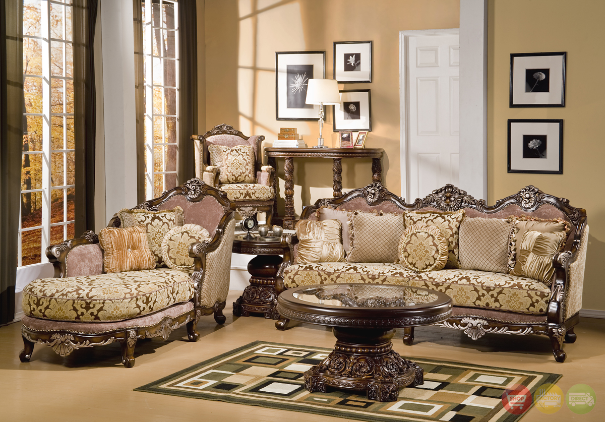 Formal Luxury Sofa Chaise Lounge Traditional Living Room Set HD 1682