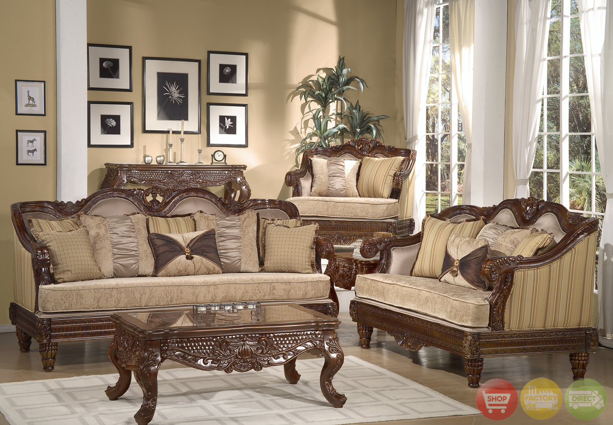 Formal luxury sofa set traditional living room furniture hd 386 cherry
