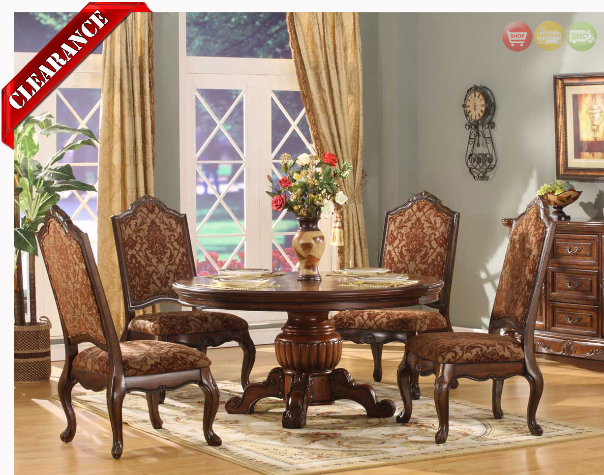 ... 5 Piece Formal Dining Room Sets By Traditional Round Walnut Finish  Formal Dining Set D8401 6060 ...