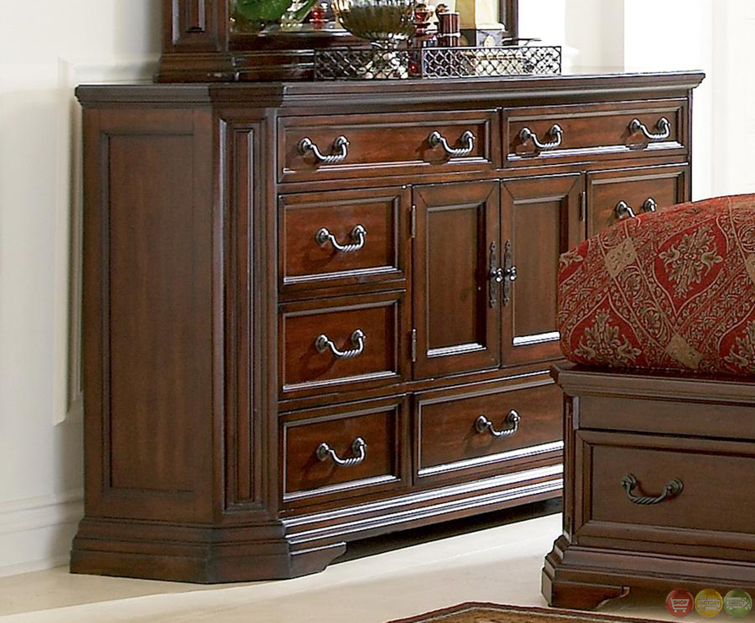 Foxhill Rich Brown Finish Storage Bedroom Furniture Set