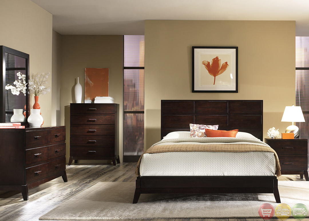 Franklin Minimalist Contemporary Merlot Finish Bedroom Set