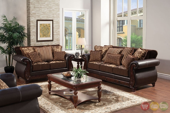 traditional dark brown living room set pillows chairs seats chenille sofa furniture