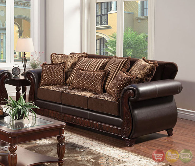 franklin traditional dark brown living room set with pillows sm6106