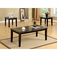Fremont Contemporary Espresso Accent Tables Set with Faux Marble Top