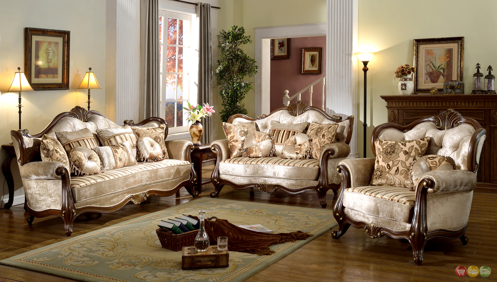 French Provincial Formal Antique Style Living Room Furniture Set Beige Chenille
