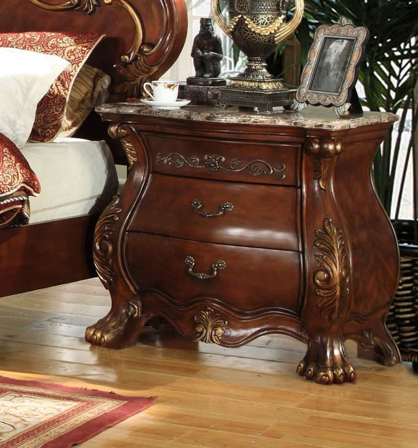 French Rococo Royale 3-Drawer Marble Bombe Nightstand In Chestnut