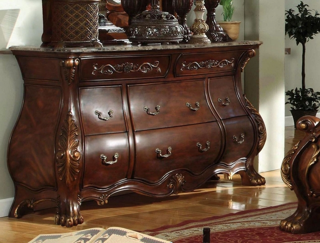 French Rococo Royale 8-Drawer Marble Bombe Dresser In Chestnut