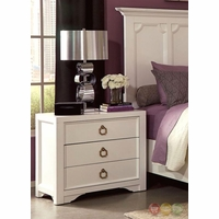 Furiani White 3-Drawer Nightstand with Two USB Ports