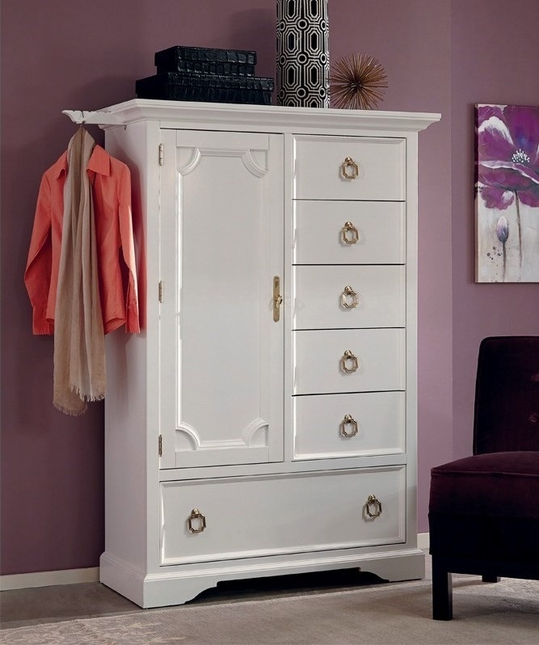 Furiani White 6-Drawer Gentleman's Chest With Gold Accents