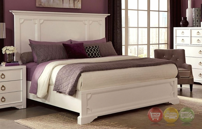 Furiani White King Bed with Recessed Picture Framed Cases