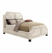 Furiani White Upholstered California King Bed With Brass Nailhead Trim