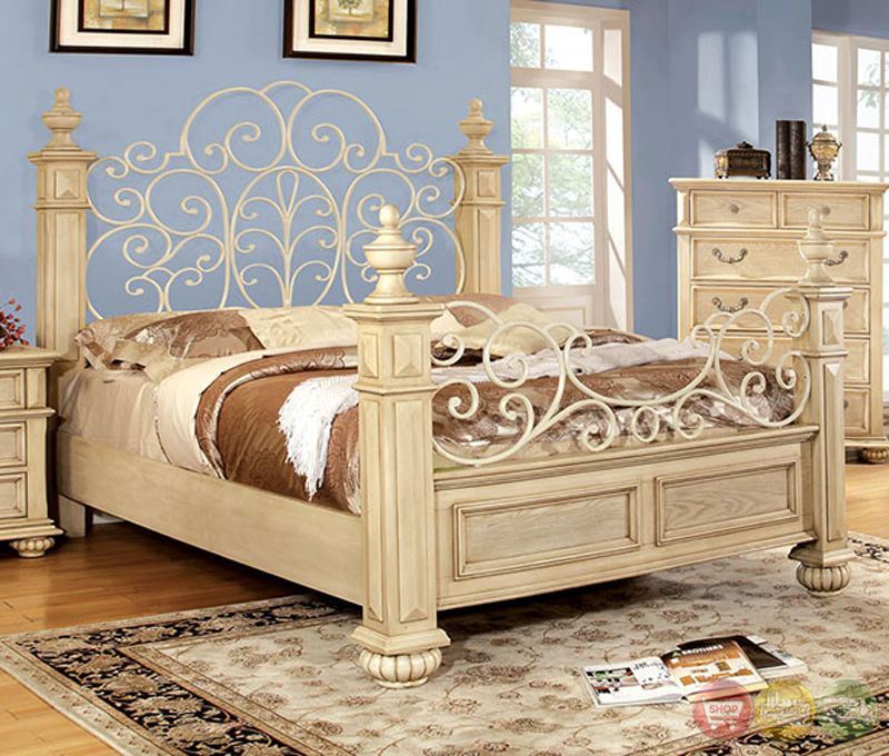 Waldenburg Traditional Antique White Bedroom Set With Floral Metal Design Hea