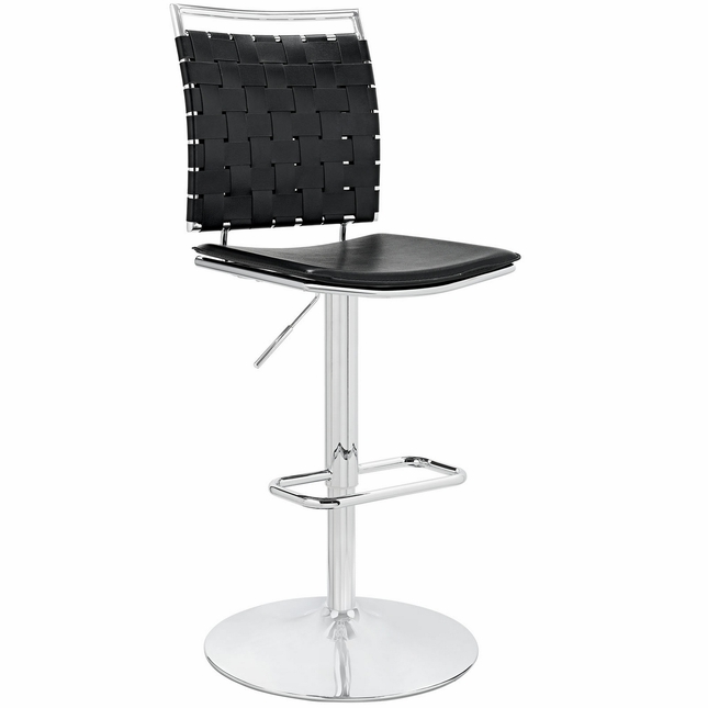 Fuse Adjustable Armless Bar Stool w/ Webbed Back & Chrome Finish, Black