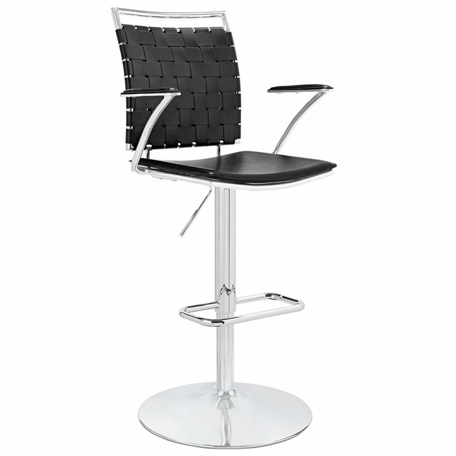 Fuse Modern Adjustable Bar Stool With Webbed Back & Chrome Finish, Black