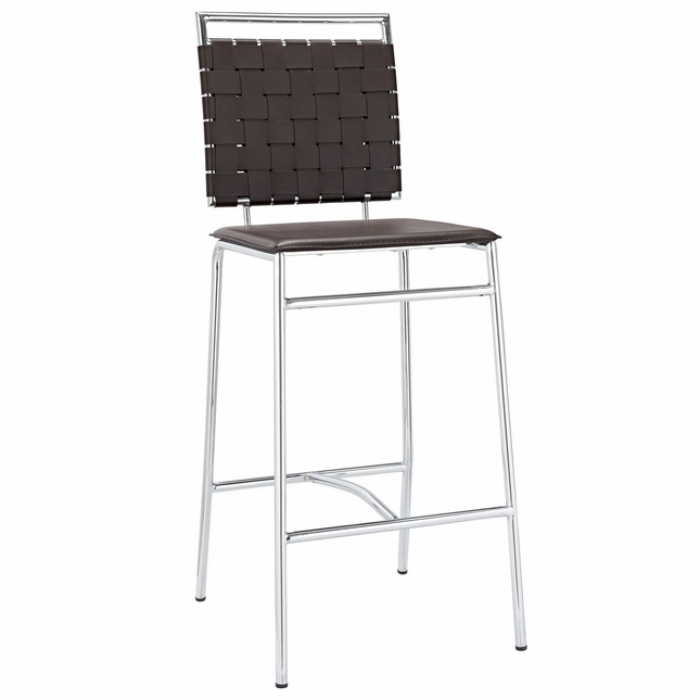 Fuse Modern Bar Stool With Webbed Back And Chrome Finished Legs, Brown