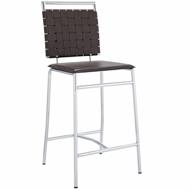 Fuse Modern Counter Height Stool w/ Webbed Back And Chrome Finish, Brown