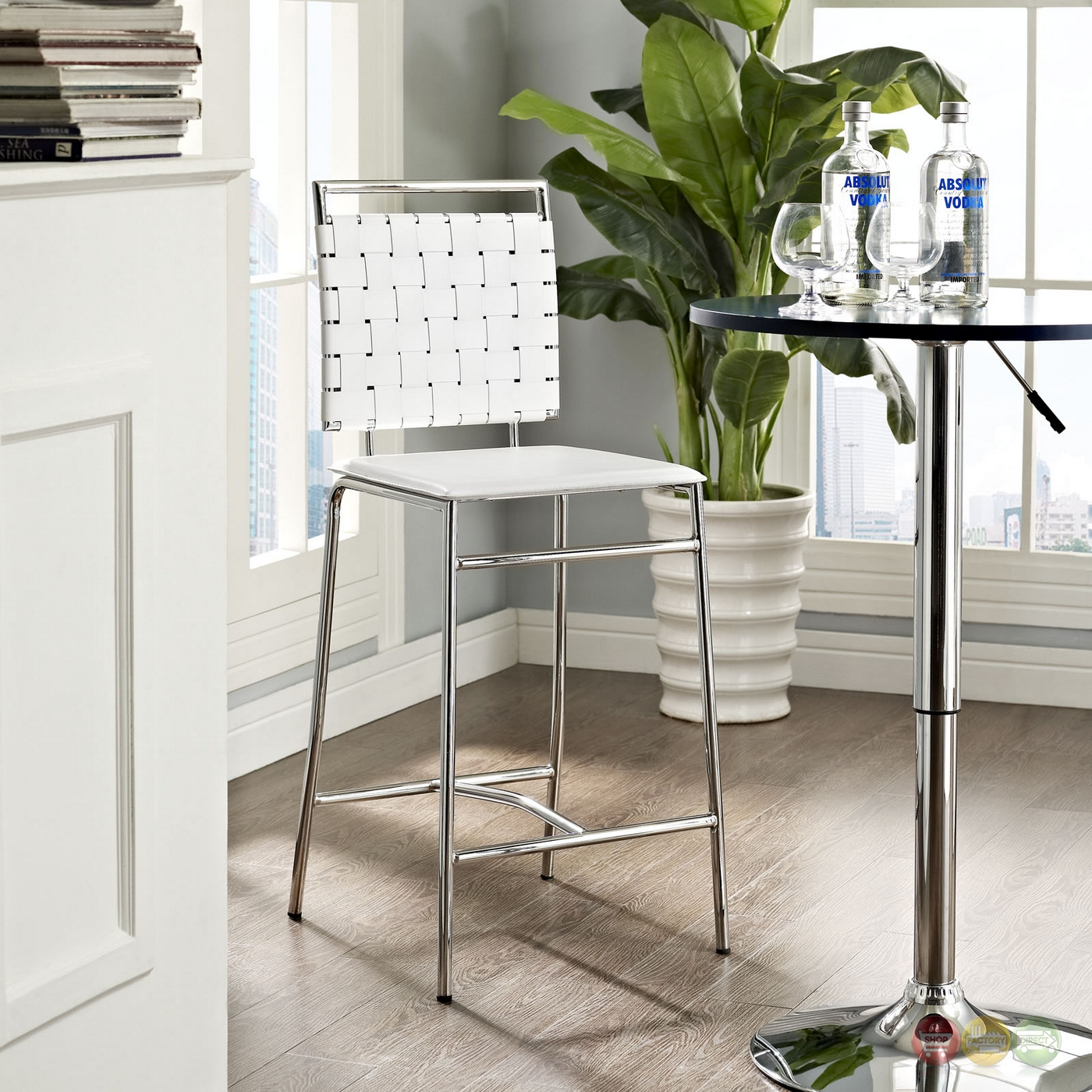 Fuse Modern Counter Height Stool W Webbed Back And Chrome