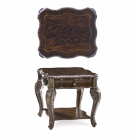 Gables 1-Drawer Antique Cherry End Table with Carved Silver Details