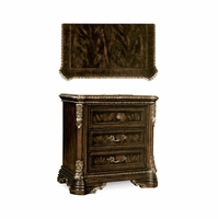 Gables 3-Drawer Ornate Dark Cherry Nightstand With Crotch Okume Veneer