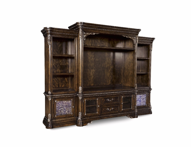 Gables Antique Cherry Entertainment Wall Unit with Carved Details