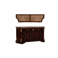 Gables Antique Cherry Marble Top Buffet with Carved Silver Details