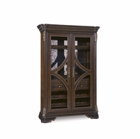 Gables Antique Cherry Wine Cabinet with Distressed Mirror Back