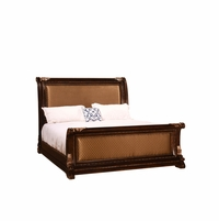 Gables Antique Dark Cherry Queen Quilted Sleigh Bed with Exotic Veneer