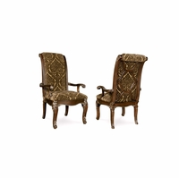 Gables Antique Dark Cherry Upholstered Arm Chair with Back Fretwork