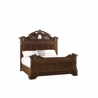 Gables Exotic Crotch Okuma Veneer California King Bed with Dark Cherry Finish