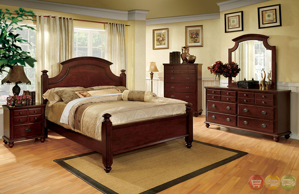 Gabrielle II Elegant European Cherry Bedroom Set With Antique Gold