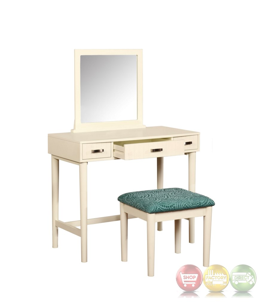 garbo simple white bedroom vanity set with bench