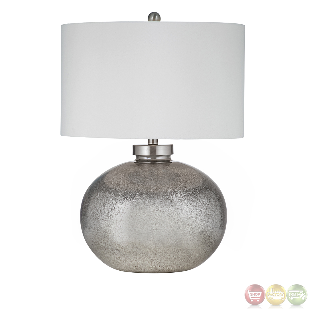 Silver Table Lamps : Gardena Silver leaf and Black Table Lamp L2737TEC