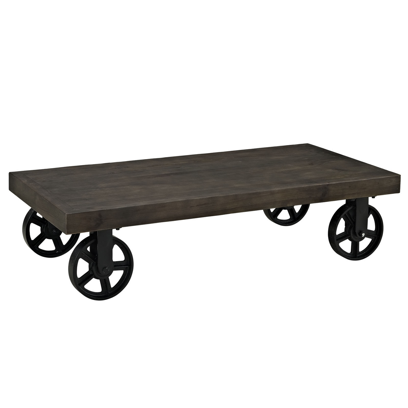 Industrial Casters For Coffee Table: Garrison Industrial Solid Pine Wood Coffee Table With