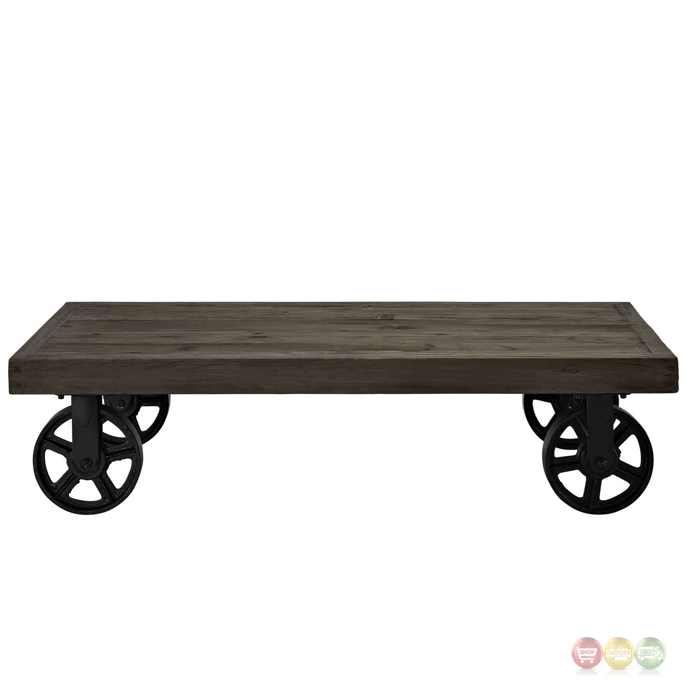 Industrial Metal Coffee Table With Wheels: Garrison Industrial Solid Pine Wood Coffee Table With