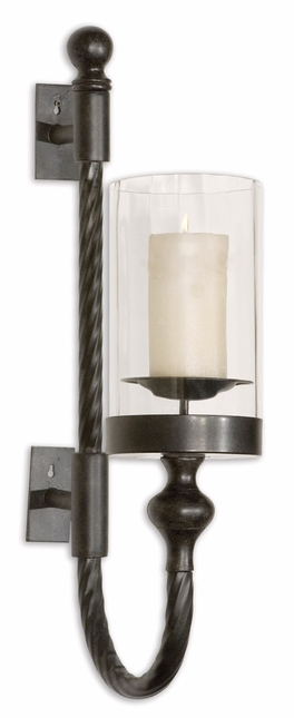 Garvin Black Metal Wall Sconce With Traditional Twist Design 19476