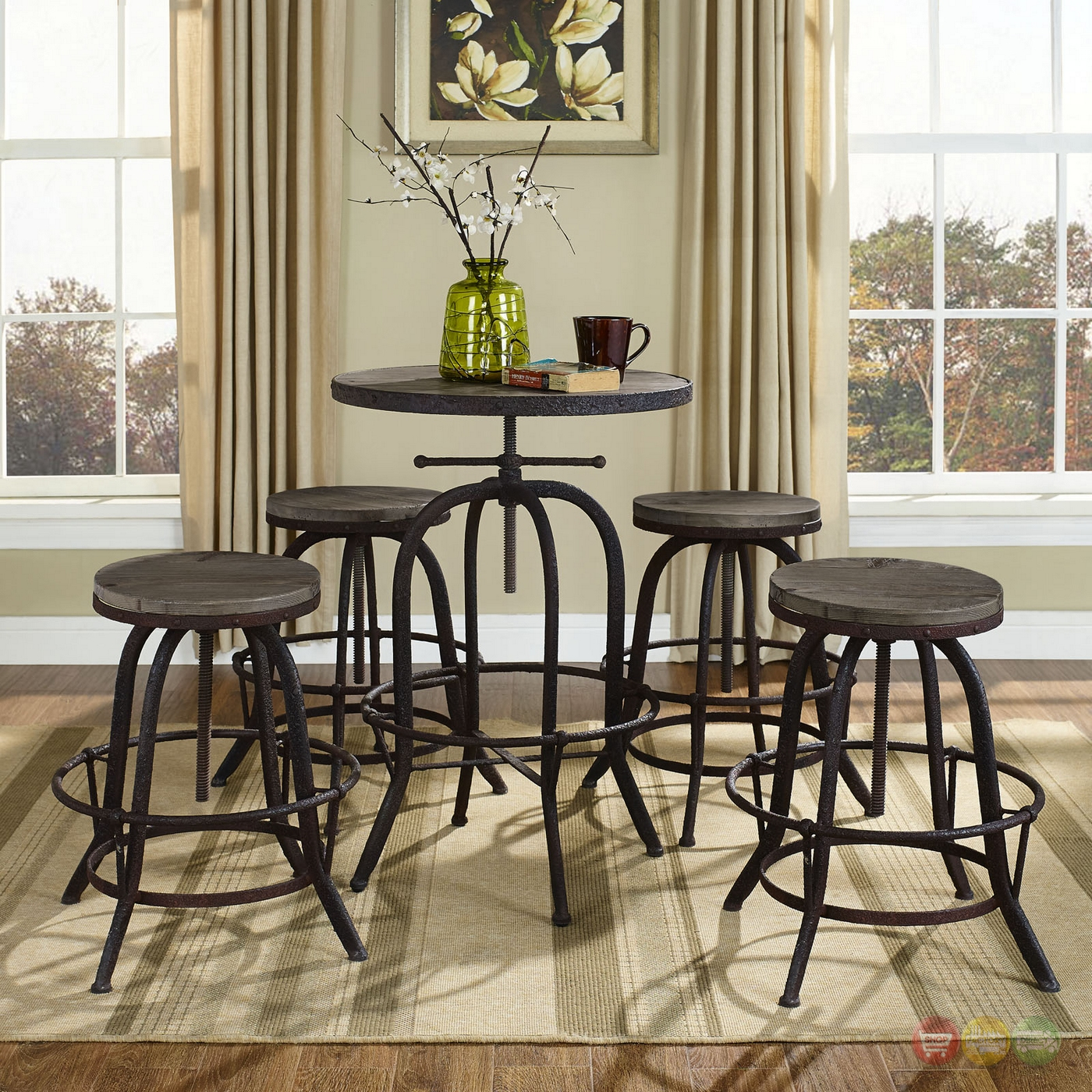 Iron Dining Set: Gather Industrial Modern 5pc Dining Set W/wood Top And