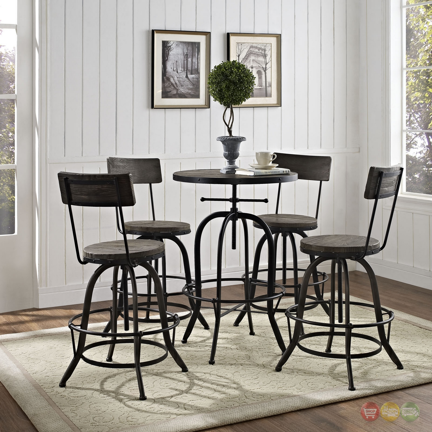 Gather Modern 5pc Wood Top Dining Set W Wood Seat Backs
