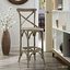 Gear Modern Country-inspired Bar Stool w/ Rattan Seat & Tapered Legs, Gray