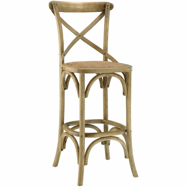 Gear Modern Country-inspired Bar Stool w/ Rattan Seat & Tapered Legs, Natural