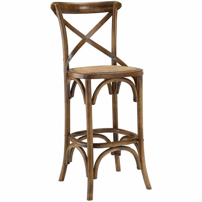 Gear Modern Country-inspired Bar Stool w/ Rattan Seat & Tapered Legs, Walnut