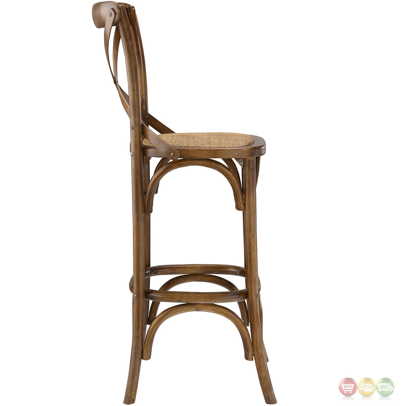 Gear Modern Country Inspired Bar Stool W Rattan Seat