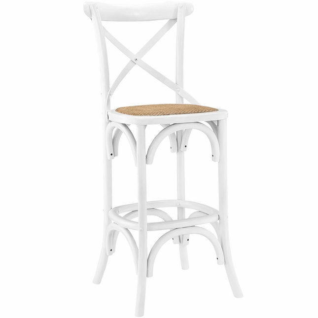 Gear Modern Country-inspired Bar Stool w/ Rattan Seat & Tapered Legs, White