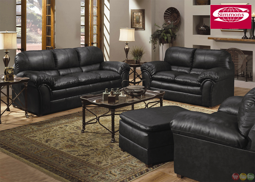 Geneva Black Bonded Leather Casual Sofa Amp Loveseat Living