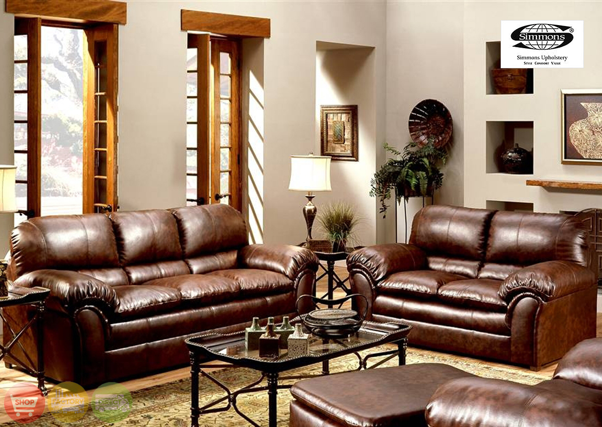 geneva classic brown leather living room couch set 6152s 6152l soflex