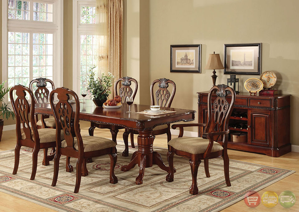George Town Elegant Cherry Formal Dining Set With Intricate Designs CM3222