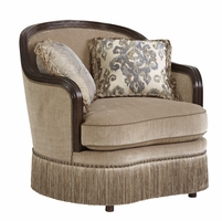 Giovanna Beige Italian Curved Chair with Azure Pillow Accents