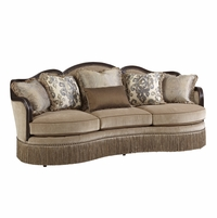 Giovanna Beige Italian Curved Sofa with Azure Pillow Accents