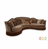 Giovanna Italian Light Mauve Sable Sectional Sofa With Wood Accents