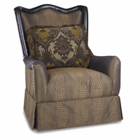 Giovanna Sable Crocodile Printed Skirted Chair With Leather Accents